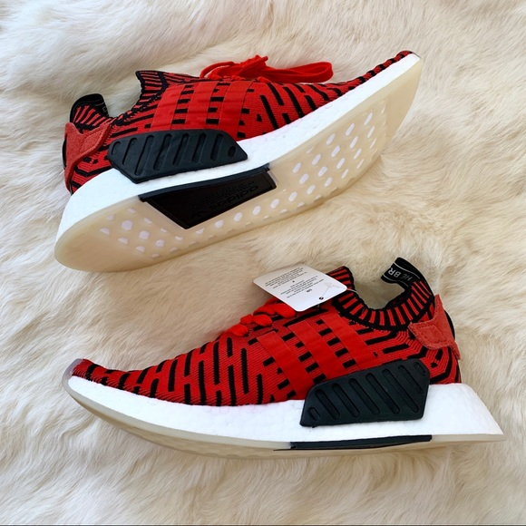 hot sale online b7320 8bc8d Adidas NMD_R2 Primeknit Running Shoes Red Black NWT